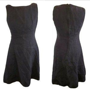 90s Talbots Irish Linen Black Sleeveless Fit Flare